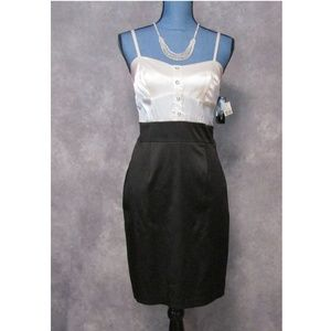 NWT BCX Black & Whtie Satin Tuxedo Dress Size 7